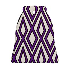 Diamond Key Stripe Purple Chevron Ornament (bell) by Mariart