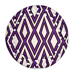 Diamond Key Stripe Purple Chevron Round Filigree Ornament (two Sides) by Mariart