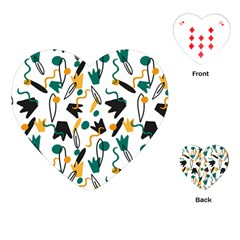 Flowers Duck Legs Line Playing Cards (heart)  by Mariart