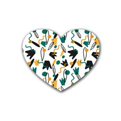 Flowers Duck Legs Line Rubber Coaster (heart)  by Mariart