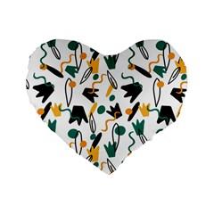 Flowers Duck Legs Line Standard 16  Premium Flano Heart Shape Cushions by Mariart