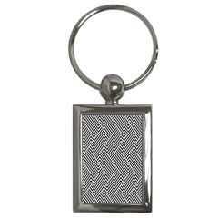Escher Striped Black And White Plain Vinyl Key Chains (rectangle)  by Mariart