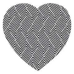 Escher Striped Black And White Plain Vinyl Jigsaw Puzzle (heart) by Mariart