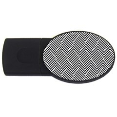 Escher Striped Black And White Plain Vinyl Usb Flash Drive Oval (4 Gb) by Mariart