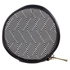 Escher Striped Black And White Plain Vinyl Mini Makeup Bags by Mariart