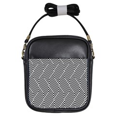 Escher Striped Black And White Plain Vinyl Girls Sling Bags by Mariart