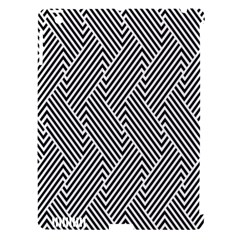 Escher Striped Black And White Plain Vinyl Apple Ipad 3/4 Hardshell Case (compatible With Smart Cover) by Mariart