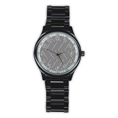 Escher Striped Black And White Plain Vinyl Stainless Steel Round Watch by Mariart