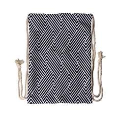 Escher Striped Black And White Plain Vinyl Drawstring Bag (small) by Mariart