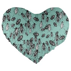 Cockroach Insects Large 19  Premium Flano Heart Shape Cushions by Mariart