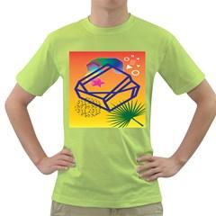 Leaf Star Cube Leaf Polka Dots Circle Behance Feelings Beauty Green T Shirt by Mariart