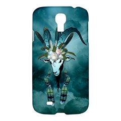 The Billy Goat  Skull With Feathers And Flowers Samsung Galaxy S4 I9500/i9505 Hardshell Case by FantasyWorld7