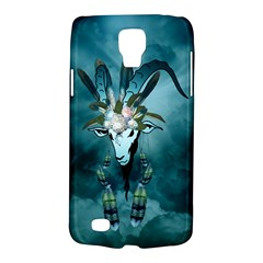 The Billy Goat  Skull With Feathers And Flowers Galaxy S4 Active by FantasyWorld7