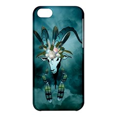 The Billy Goat  Skull With Feathers And Flowers Apple Iphone 5c Hardshell Case by FantasyWorld7