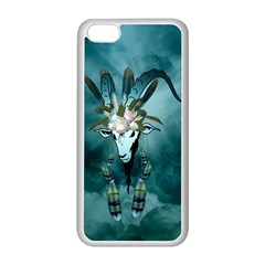 The Billy Goat  Skull With Feathers And Flowers Apple Iphone 5c Seamless Case (white) by FantasyWorld7