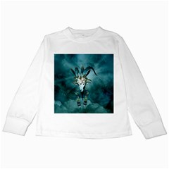 The Billy Goat  Skull With Feathers And Flowers Kids Long Sleeve T Shirts by FantasyWorld7