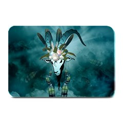 The Billy Goat  Skull With Feathers And Flowers Plate Mats by FantasyWorld7