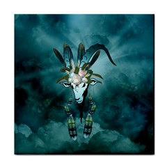 The Billy Goat  Skull With Feathers And Flowers Face Towel by FantasyWorld7