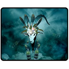 The Billy Goat  Skull With Feathers And Flowers Double Sided Fleece Blanket (medium)  by FantasyWorld7