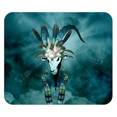 The Billy Goat  Skull With Feathers And Flowers Double Sided Flano Blanket (small)  by FantasyWorld7