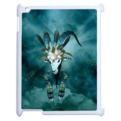The Billy Goat  Skull With Feathers And Flowers Apple Ipad 2 Case (white) by FantasyWorld7