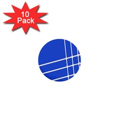 Line Stripes Blue 1  Mini Buttons (10 Pack)  by Mariart