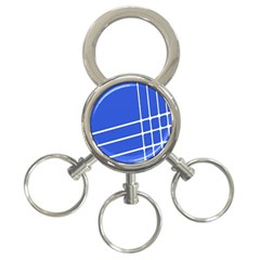 Line Stripes Blue 3 Ring Key Chains by Mariart