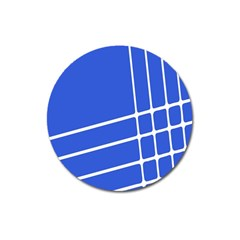 Line Stripes Blue Magnet 3  (round) by Mariart