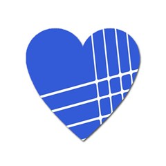 Line Stripes Blue Heart Magnet by Mariart