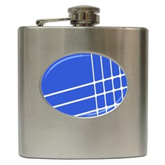 Line Stripes Blue Hip Flask (6 Oz) by Mariart