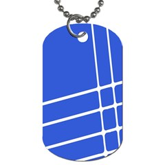 Line Stripes Blue Dog Tag (two Sides) by Mariart