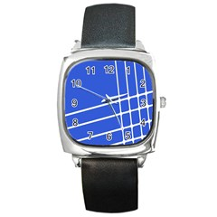 Line Stripes Blue Square Metal Watch by Mariart