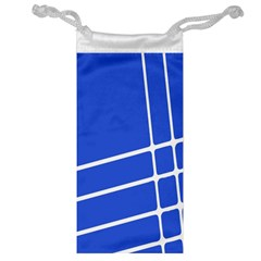 Line Stripes Blue Jewelry Bag by Mariart