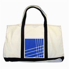 Line Stripes Blue Two Tone Tote Bag by Mariart