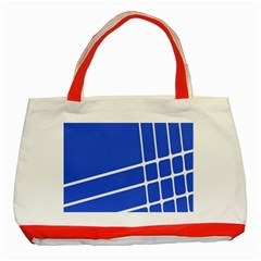 Line Stripes Blue Classic Tote Bag (red) by Mariart