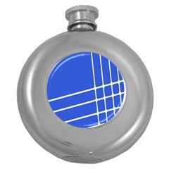Line Stripes Blue Round Hip Flask (5 Oz) by Mariart