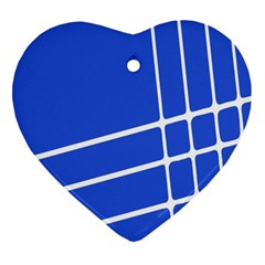 Line Stripes Blue Heart Ornament (two Sides) by Mariart