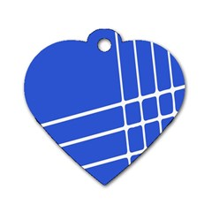 Line Stripes Blue Dog Tag Heart (two Sides) by Mariart