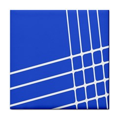 Line Stripes Blue Face Towel by Mariart