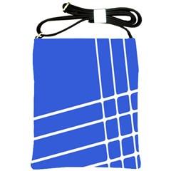 Line Stripes Blue Shoulder Sling Bags by Mariart