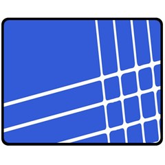 Line Stripes Blue Fleece Blanket (medium)  by Mariart