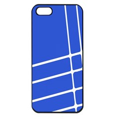 Line Stripes Blue Apple Iphone 5 Seamless Case (black) by Mariart