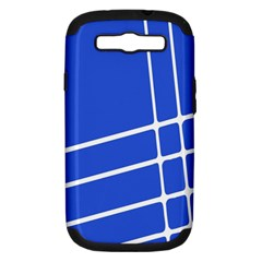 Line Stripes Blue Samsung Galaxy S Iii Hardshell Case (pc+silicone) by Mariart