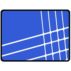 Line Stripes Blue Double Sided Fleece Blanket (large)  by Mariart