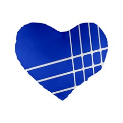 Line Stripes Blue Standard 16  Premium Flano Heart Shape Cushions by Mariart