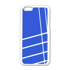 Line Stripes Blue Apple Iphone 6/6s White Enamel Case by Mariart