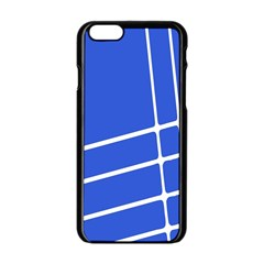 Line Stripes Blue Apple Iphone 6/6s Black Enamel Case by Mariart