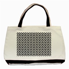 Funky Chevron Stripes Triangles Basic Tote Bag