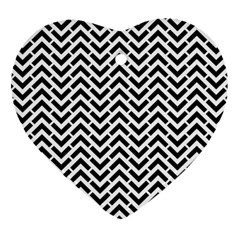Funky Chevron Stripes Triangles Heart Ornament (two Sides) by Mariart