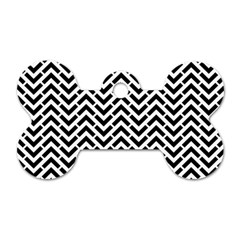 Funky Chevron Stripes Triangles Dog Tag Bone (one Side) by Mariart